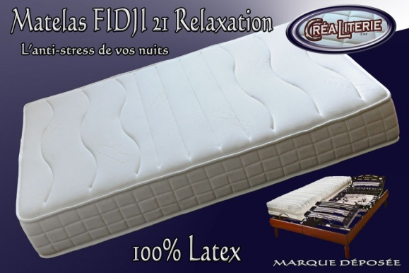 Matelas Latex Fidji 21 Relaxation Latex Multizone Micro Perforé 84 Kg/m³ (coutil Anti-stress) Fabrication Francaise  par Créaliterie